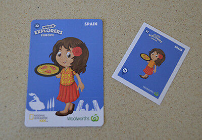 Woolworths Cards World Explorer Card #32 Spain and Sticker