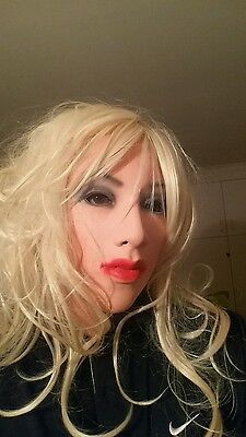 Female Emily latex mask realistic rubber fetish red lips living doll halloween