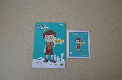 Woolworths Cards World Explorer Card #52 Chile and Sticker