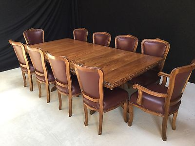 Grand Regency Style English Oak Dining Set Professionally French Polished
