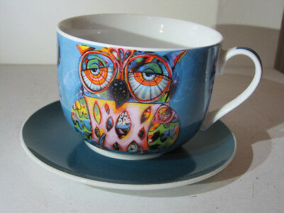 Brilliant Fine China Large OWL Cup and Saucer by Allen Designs