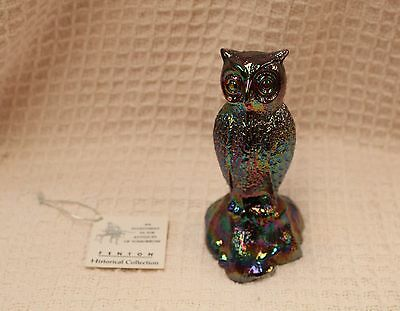 Fenton Amethyst Purple Carnival Glass Owl Paperweight Figurine Collectable