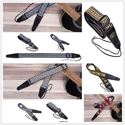 Guitar STRAP Strap Cotton Embroidery P&P Woven Double-end Reinforced Leather