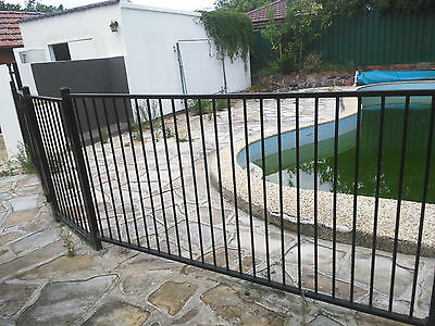 Swimming Pool Fence Black Fencing Panels + Self Closing Door Aust. Standards