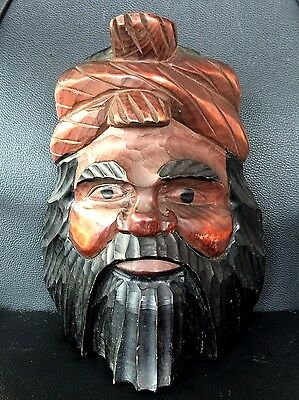 Ainu Great Asian Ethnic  Antique Primitive Carved Man Head Vintage Wood Wall Art