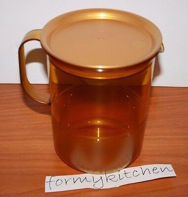 Tupperware Acrylic Small Pitcher 4 Cups Sheer Gold  New!!!