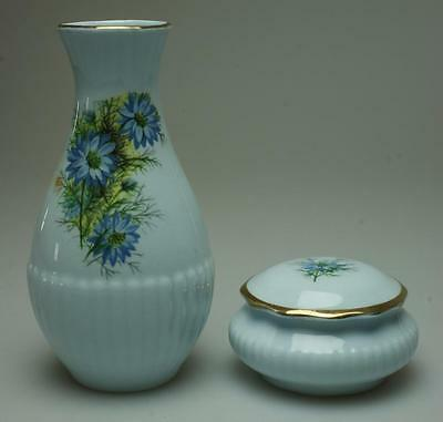 Pair of Royal Adderley Floral Bud Vase & Pin Dish Pale Blue Background VA177