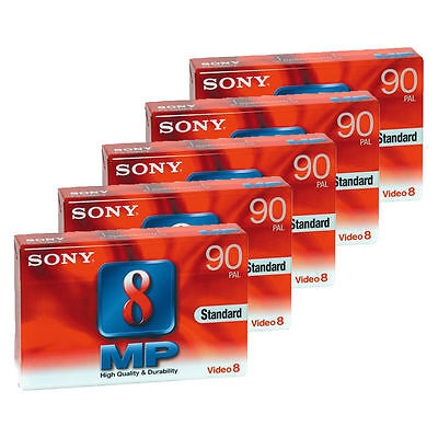 5 X SONY 8  x NEW BLANK CASSETTE TAPES FOR VIDEO RECORDER STANDARD MP PAL 90