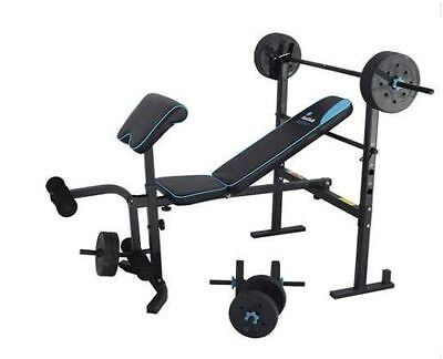 NEW Mens Health Folding Bench 35kg Weights Home Gym Equipment Fitnesw