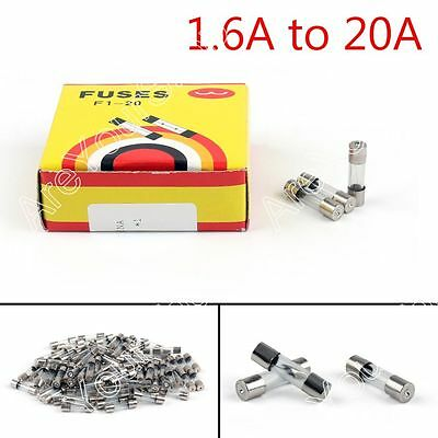 5 x 20mm 250V Glass Fuse Quick Blow Acting Fuse Fast-Blow Glass 1.6A to 20A B4