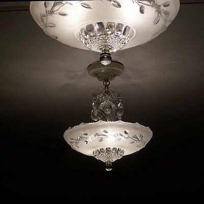 219 Vintage Ceiling Light Lamp Fixture Glass Chandelier  white