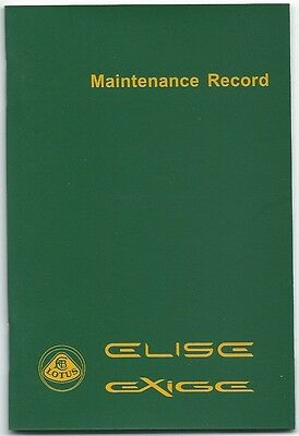 New lotus elise exige series 2 S2 maintenance record service book