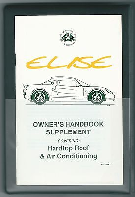 New Lotus Elise S1 Handbook Owners Manual Book hard top & air con supplement