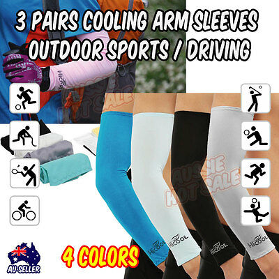 3 Pairs Cooling Arm Sleeves Outdoor Sports Sun UV Protection Covers Golf Cycling