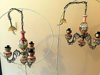 PAIR of VINTAGE CAPODIMONTE PORCELAIN AND BRASS CHANDELIERS 3 ARM