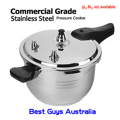 Commercial Grade Stainless Steel Pressure Cooker 8L 1 Year Warranty (26Cm)