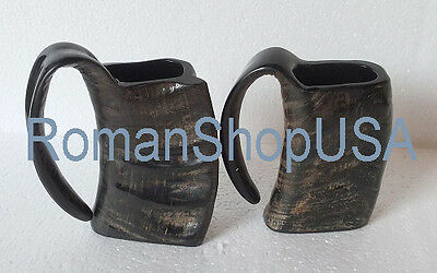 2 natural polished Viking drinking ox horn beer wine mead pagan ale mug glass