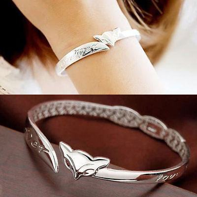NEW 925 Sterling Silver Plated Shiny Fox Bangle Cuff Foxy Bracelet Chain Gift