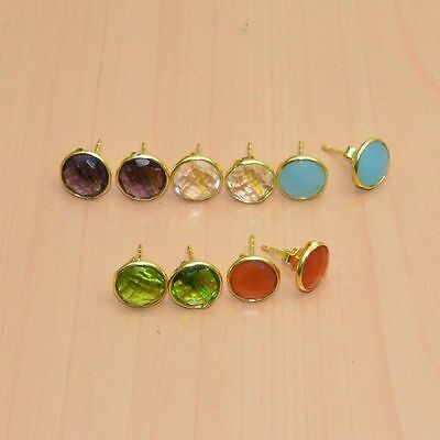 925 Solid Sterling Silver &24K Gold Overlay Wholesale 5Pair Peridot Earring Lot