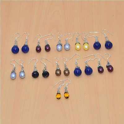 925 Solid Sterling Silver Wholesale 11Pair Lapis Lazuli & Mix Stone Earring Lot