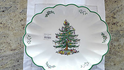 New Spode Christmas Tree Fluted Serving Dish: 30 x 37 cm