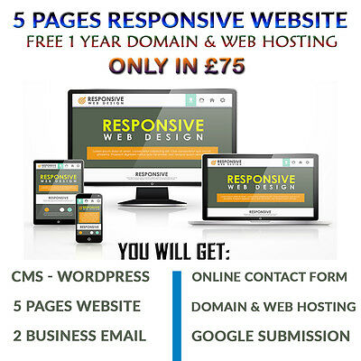 Website Design -5 Responsive Pages -Free 1 Domain & Web Hosting - UK Designer