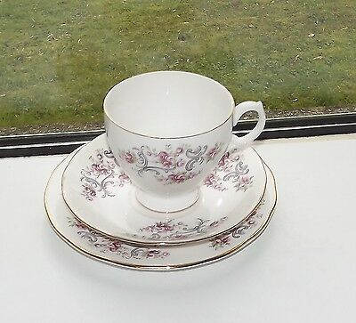 Vintage Gainsborough Bone China Trio Cup Saucer Plate Floral Pink Rosebuds