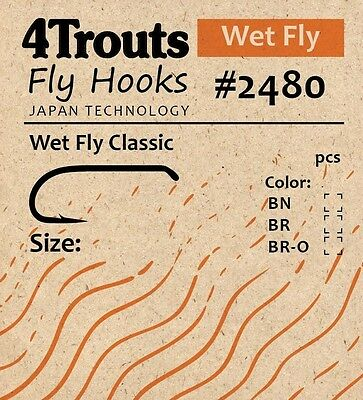 Wet Fly Classic Hooks #8 and #10 100 pcs/pack. Brand 4Trouts #2480 for fly tying