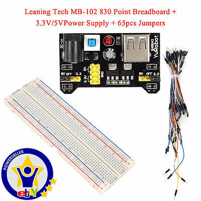 New MB-102 830 Point Solderless PCB Breadboard+ Power Supply + 65pcs Jump Cables