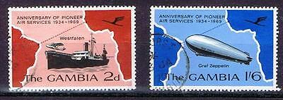 Gambia 1969 QEII 35th Anniversary of Postal Services - 2d & 1/6d values - Used