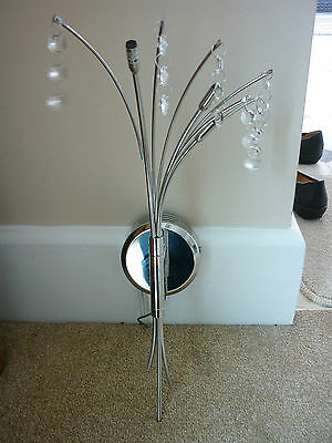Chrome Chandlier Single Wall Light With Cut Glass Crystal  Drops