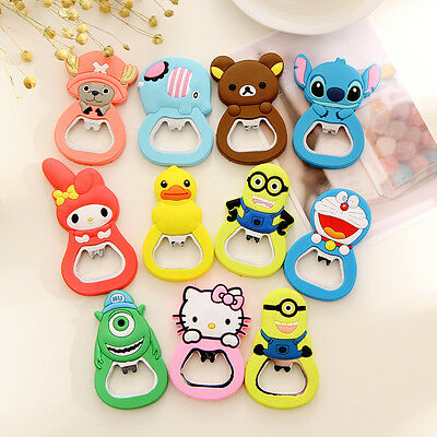 Silica Gel Rubber Cartoon Bottle Opener Keychain Keyring Key Chain Ring Gift