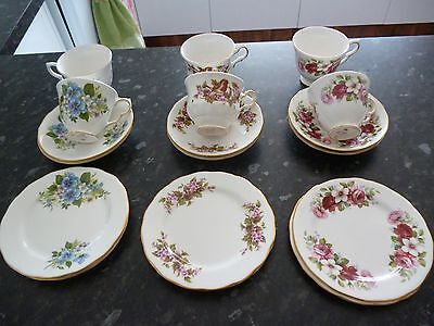 antique   queen anne set cup, saucer, plate set of 6