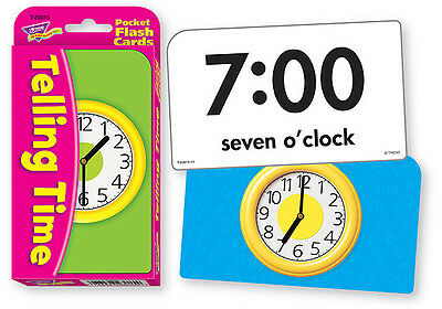 Telling Time Pocket Flash Cards - Sturdy Educational 2 Sided Cards