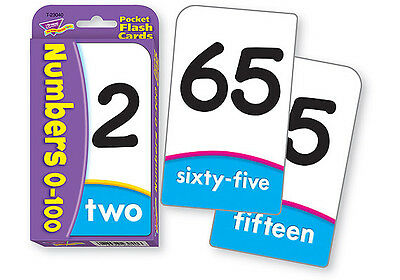 Numbers 0-100 Pocket Flash Cards - Sturdy Educational 2 Sided Cards
