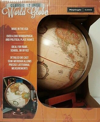 Replogle World Globe Classic 12 Inch/30.5 cm Up-to-Date Accuracy Antique Earth 2