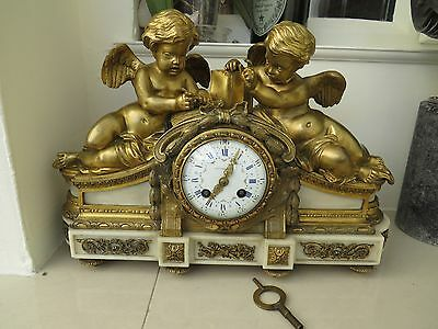 Antique Bronze Marble 8 Day Tiffany Clock