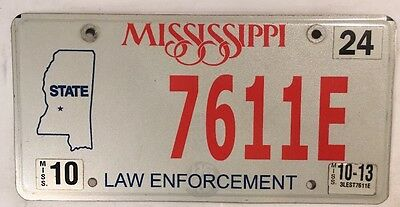 LAW ENFORCEMENT Police Officer  license plate Mississippi Map Sheriff Government