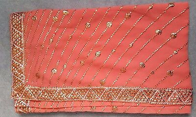 Orange Peach bollywood Saree Sari with bronze sequin embroidery - Brand new