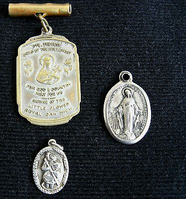 3 Religious Saints Medals: Therese-Shrine of The Little Flower/Christopher/Mary