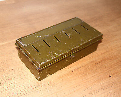 Cash Tin Money Box VINTAGE RETRO Old Green Cash Tin With 6 Internal Sections