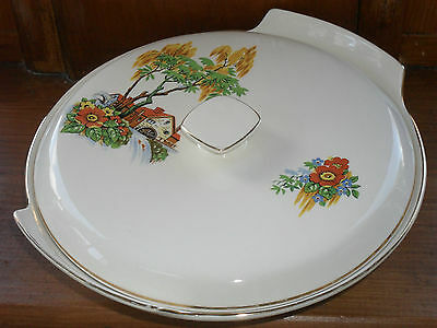 Art Deco Palissy Tureen. lidded serving bowl, Royal Worcester family, retro