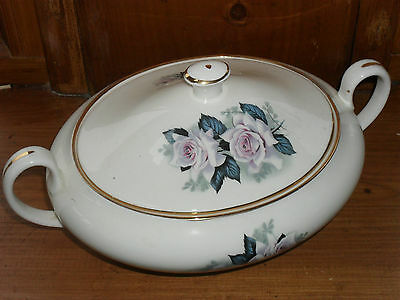 Bone china mid century tureen with rose decoration,gilt edge 1940s perhaps?