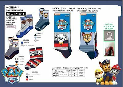 paw patrol pack for 3 socks marshall set or chase set age 2-8 free 1st post