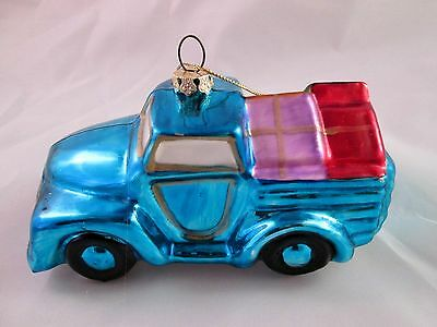 Hand Blown Hand Painted  Glass Pick Up Truck Ornament Blue
