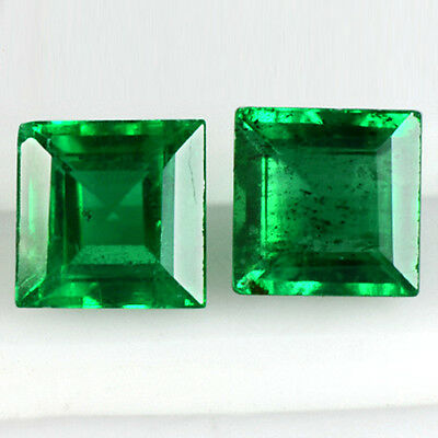 0.63 Cts Natural Top Green Emerald Loose Gemstone Square Pair Zambia Unheated $
