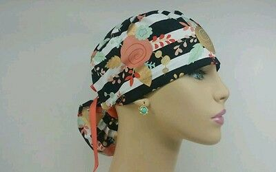 Ponytail Scrub Hat - Passion Flowers - Handmade, Medical, Multi-Color, One Size,