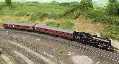 Bachmann class 4MT tank engine 32-354A and two Mainline coaches.