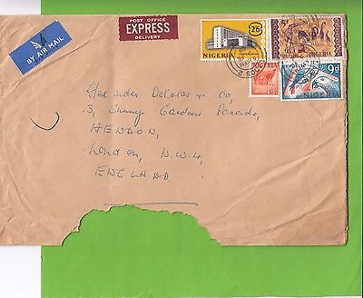 L 42 Nigeria Express airmail 1968  cover to UK; 9/6d rate; 4 stamps
