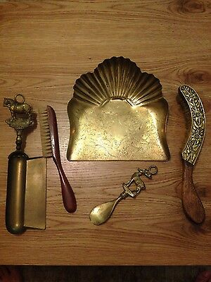 antique vintage Victorian brass lot of dust pan and brush and more